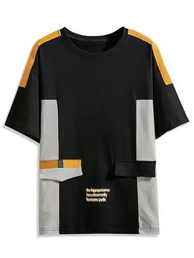 Color Block Splicing Letter Print T shirt