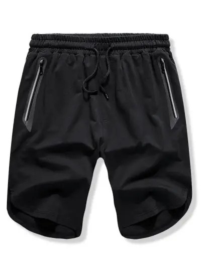 Solid Color Zipper Pocket Shorts