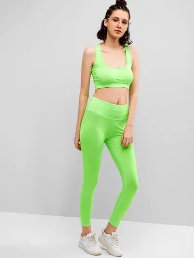Neon Gym Bra and Leggings Set