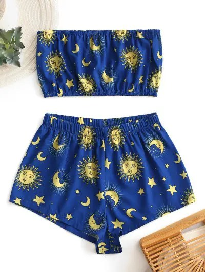 Star Sun and Moon Top And Shorts Set
