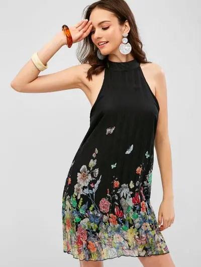 Floral Pleated Sleeveless Dress