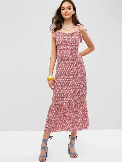 Floral Tied Straps Midi Dress