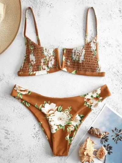 Floral Shirred Bikini Set
