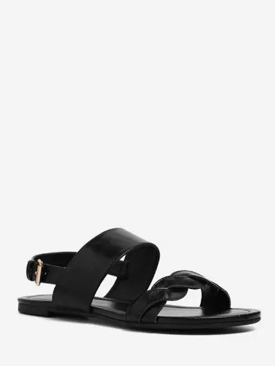 Twisted Strap Flat Sandals