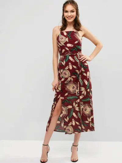 Feather Print Slit Maxi Dress
