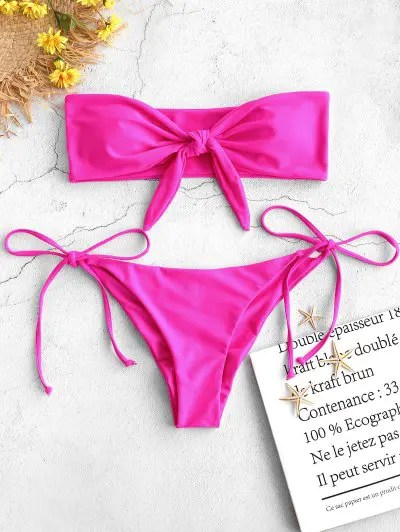 Tied Strapless Bikini Set