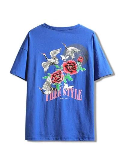 Flying Crane Flower Print T shirt