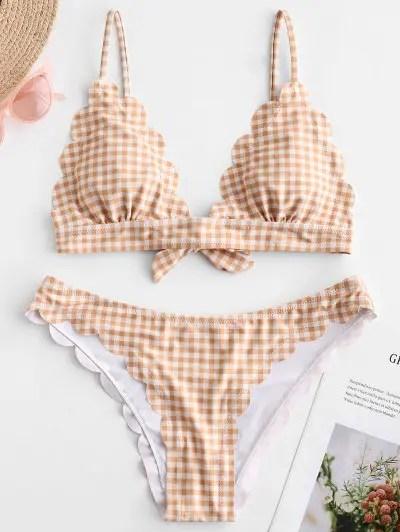 Plaid Scalloped Bikini Set