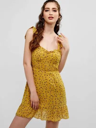 Flower Self Tie Mini Dress