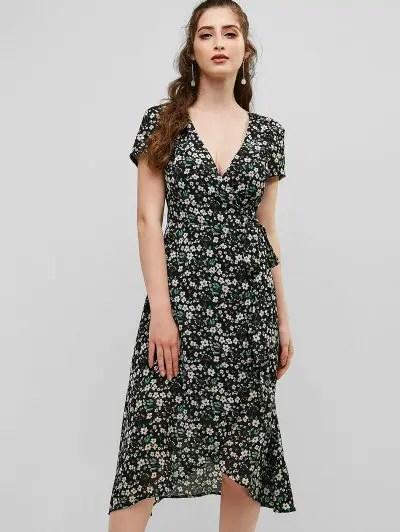 Flower Low Cut Dress