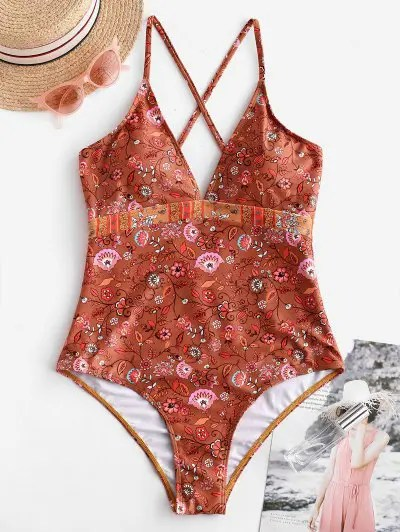 Plant Print Padded One piece Swimsuit