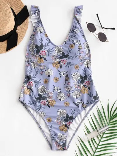 Backless Floral Swimsuit