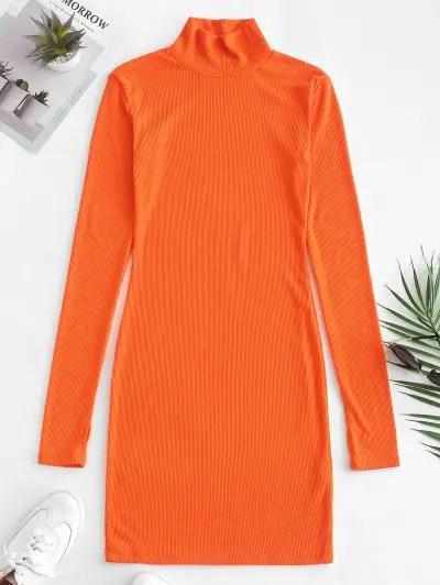 Ribbed Mock Neck Long Sleeve Dress