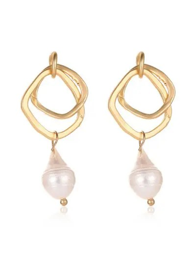 Faux Pearl Irregular Stud Earrings