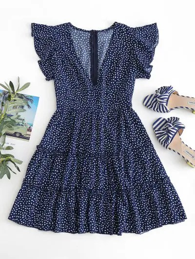 Raindrop Print Flounces Dress