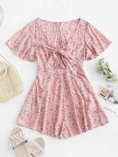 Floral Knotted Romper
