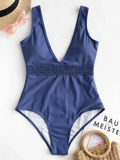 Shirred Waist Plunge One piece Swimsuit