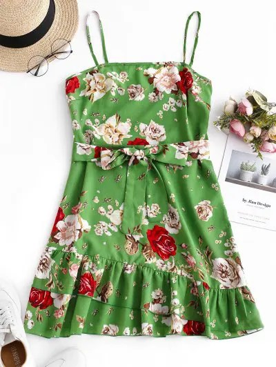 Belted Flower Flounce Mini Dress