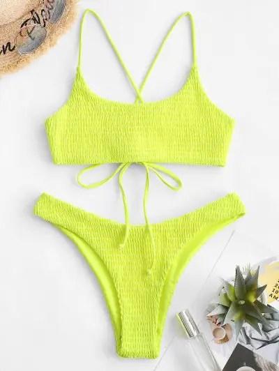 Lace up Smocked Bikini Set