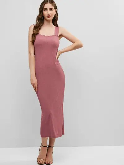 Ribbed Square Neck Dress