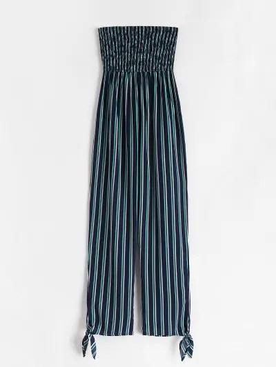 Shirred Split Striped Jumpsuit