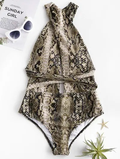 Snakeskin Cross Convertible One piece Swimsuit