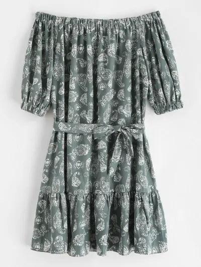Belted Printed Off Shoulder Dress