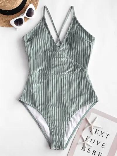 Velvet Ribbed High Waisted Swimsuit