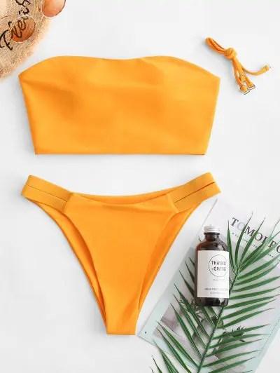 Cross Bandeau Bikini Swimsuit