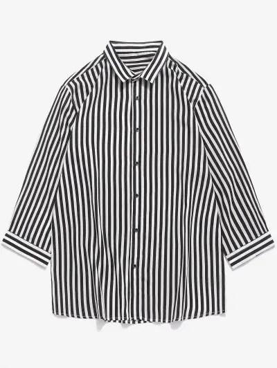 Striped Print Button Up Shirt