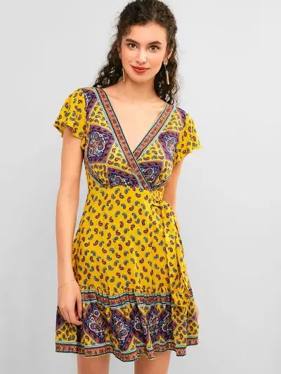 Flounce Paisley Wrap Dress