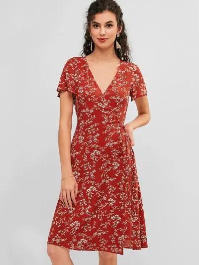 Knee Length Floral Wrap Dress