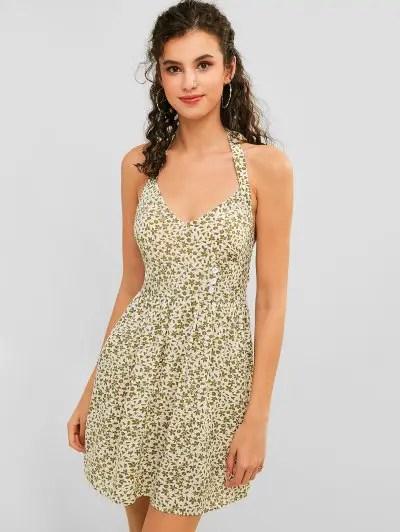 Halter Floral Backless Mini Dress