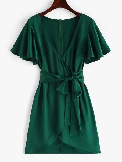 Belted Plunging Dress