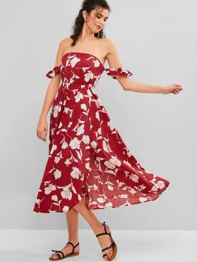 Flower Asymmetric Slit Midi Dress