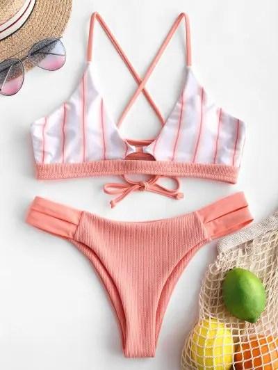 Striped Panel Lace up Ribbed Bikini Swimsuit