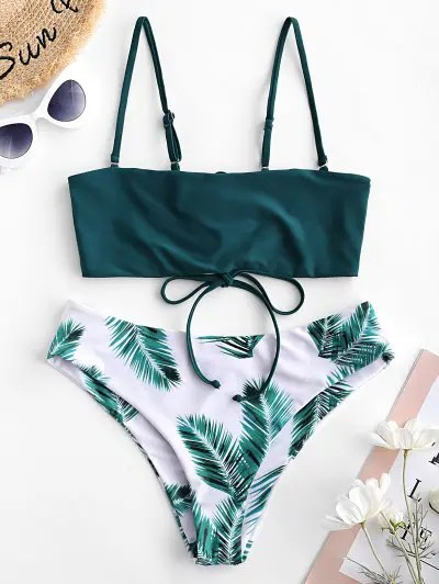 Leaf Print Reversible Convertible Bikini Swimsuit