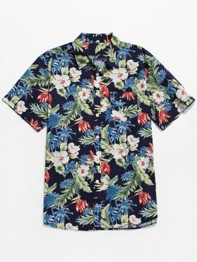 Tropical Plant Flower Print Shirt