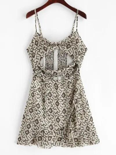 Chiffon Flounce Cami Printed Dress