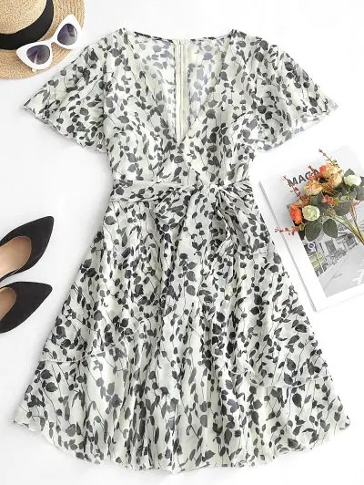 Floral Print Belted Overlap Dress
