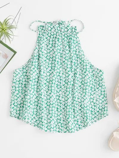 Ditsy Floral Frilled Keyhole Top