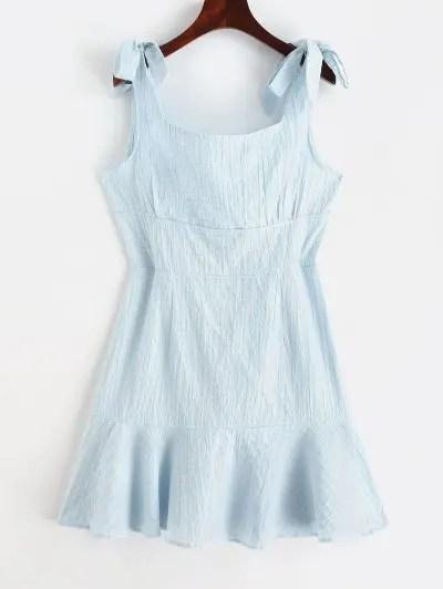 Tied Straps A Line Mini Dress