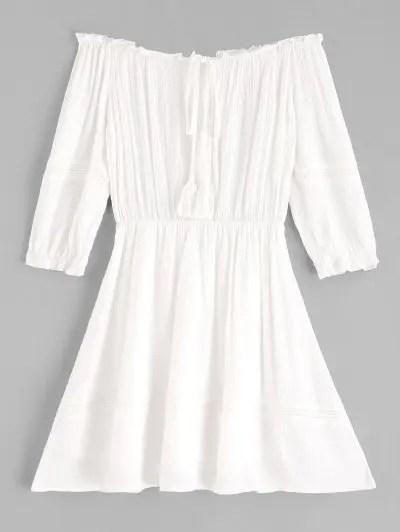 Off Shoulder Tassels Mini Dress