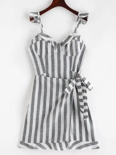 Stripes Flounces Mini Dress