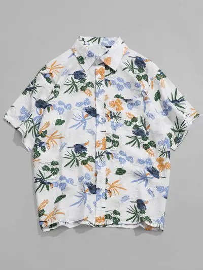 Tropical Plant Bird Print Shirt