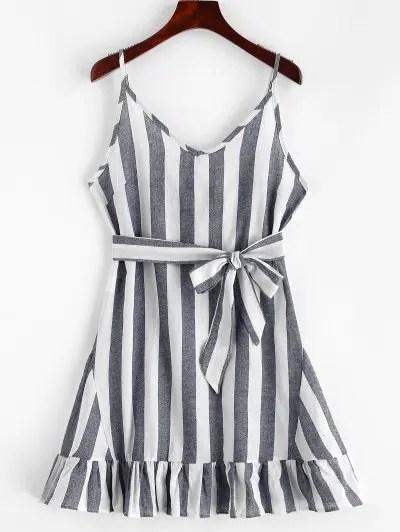 Stripes Ruffles Cami Dress
