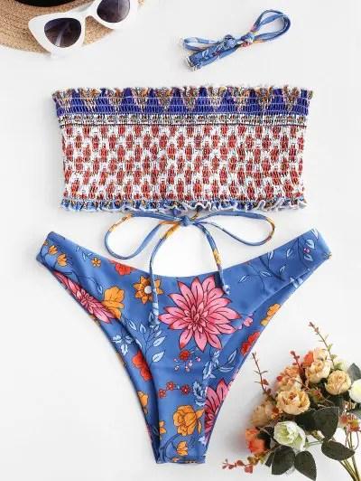 Floral Lace up Smocked Bikini Swimsuit