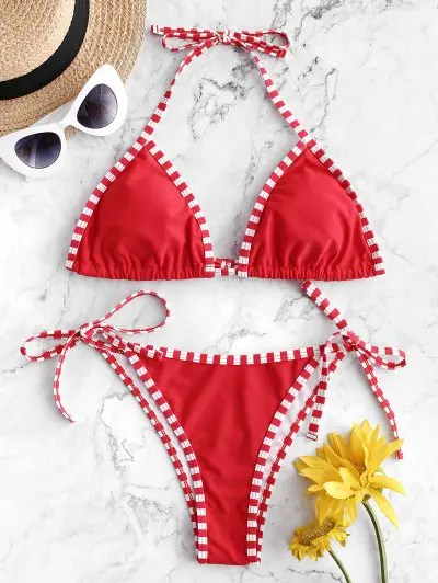 Striped Piping Halter Bikini Swimsuit