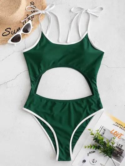 Contrast Trim Cutout One piece Swimsuit
