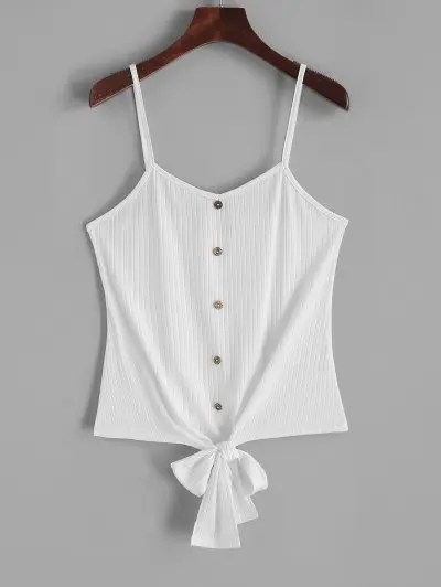 Buttons Knotted Hem Cami Top